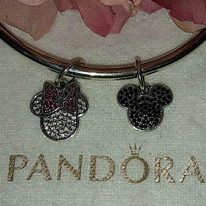 Pandora Set of Pave Minnie/Mickey Icon Pendants